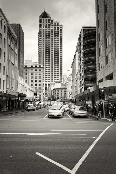 auckland city landscape photography documentary black and white david st george metropolis hotel
