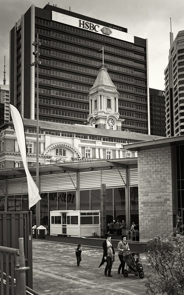 auckland city landscape photography documentary black and white david st george ferry building